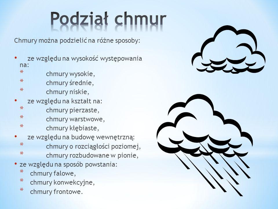 Podział chmur Chmury można podzielić na różne sposoby: