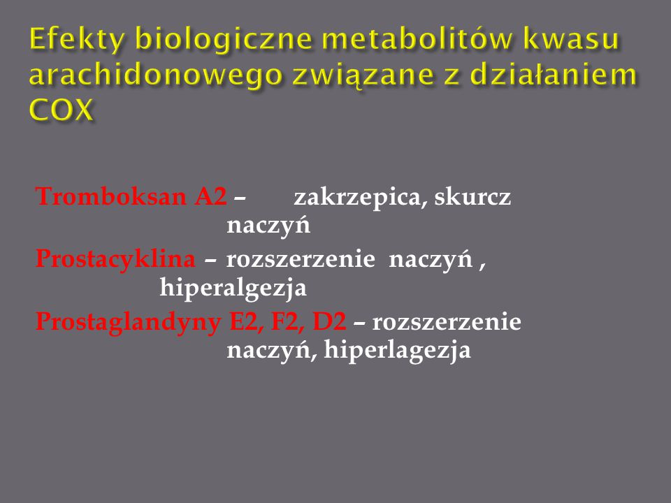 Efekty biologiczne metabolitów kwasu arachidonowego związane z działaniem COX