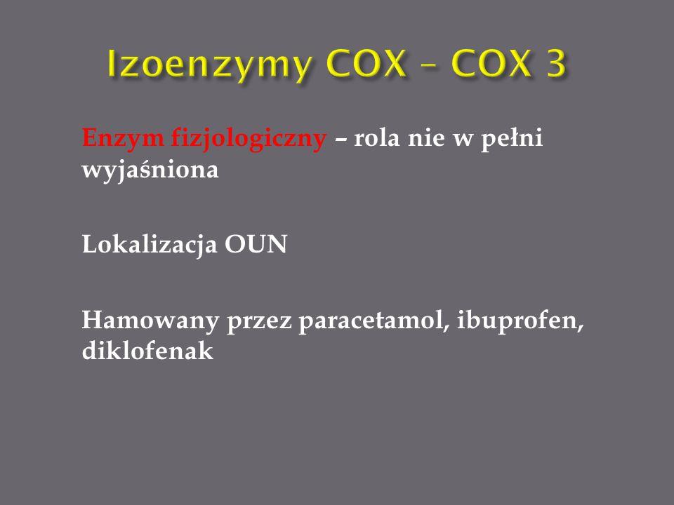 Izoenzymy COX – COX 3 Enzym fizjologiczny – rola nie w pełni wyjaśniona Lokalizacja OUN Hamowany przez paracetamol, ibuprofen, diklofenak