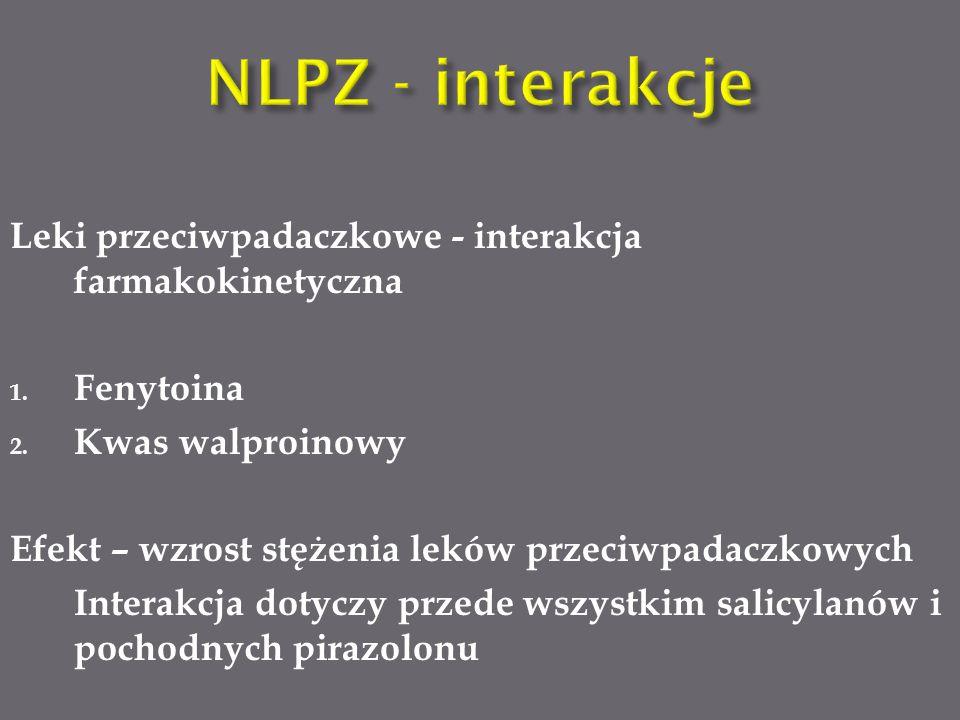 NLPZ - interakcje Leki przeciwpadaczkowe - interakcja farmakokinetyczna. Fenytoina. Kwas walproinowy.