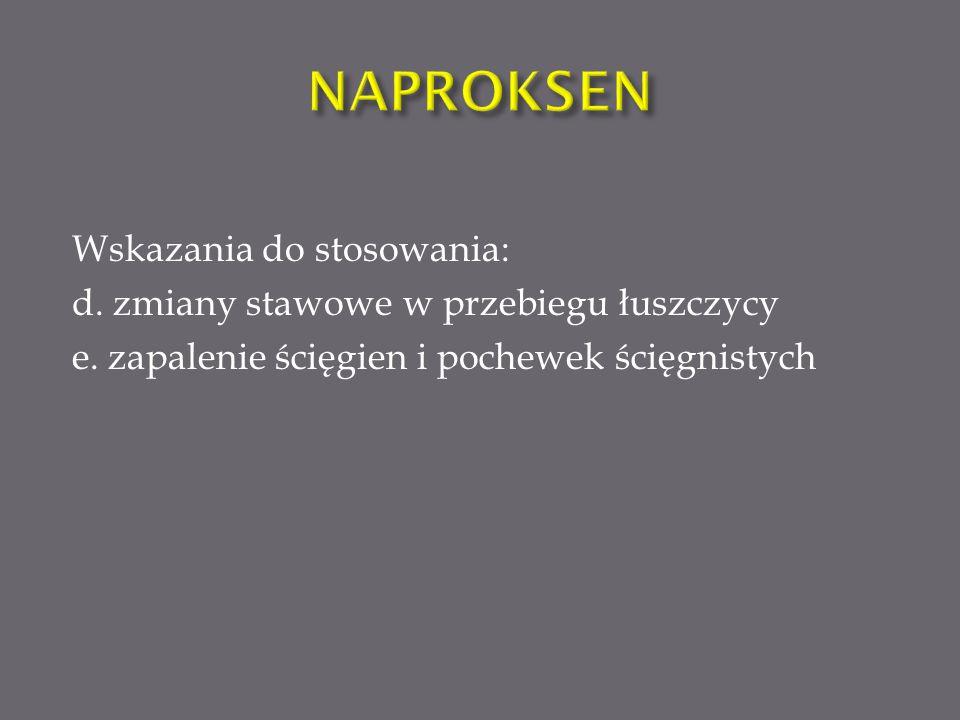 NAPROKSEN Wskazania do stosowania: d. zmiany stawowe w przebiegu łuszczycy e.