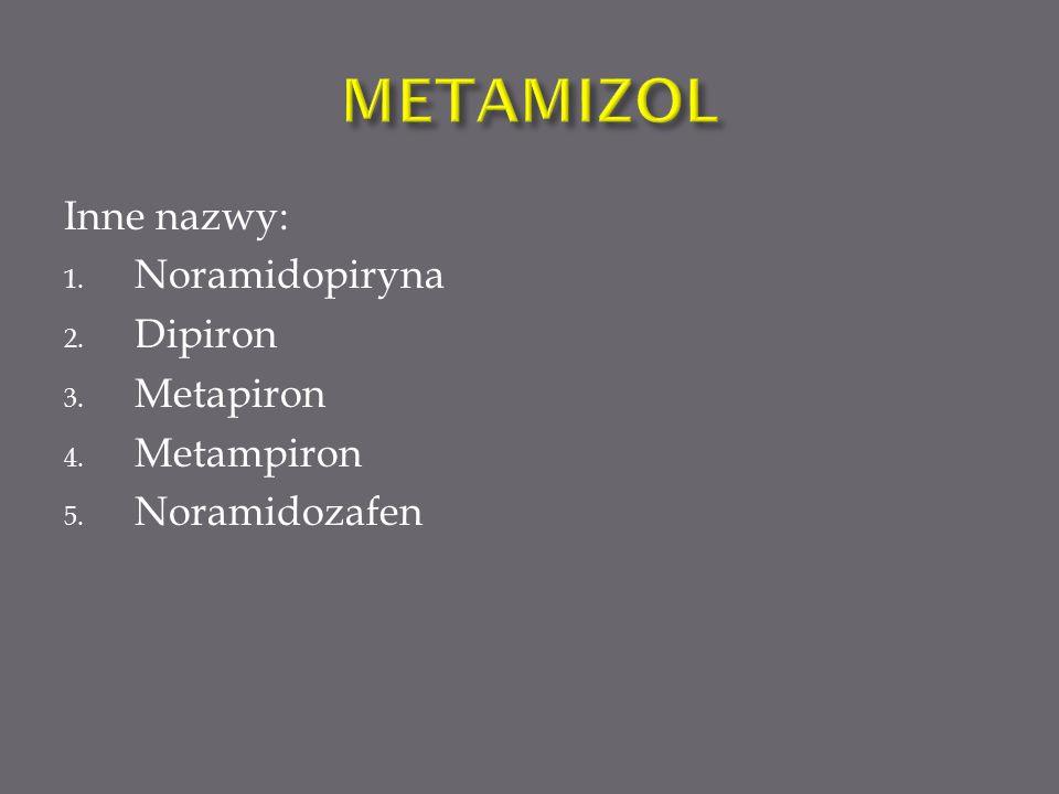 METAMIZOL Inne nazwy: Noramidopiryna Dipiron Metapiron Metampiron