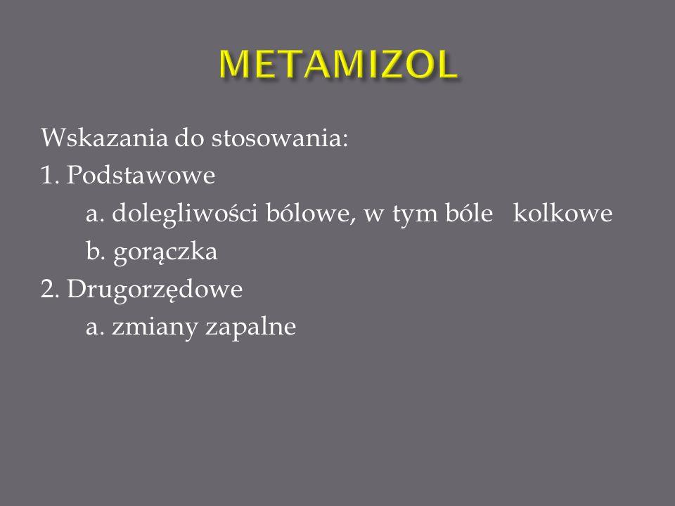 METAMIZOL Wskazania do stosowania: 1. Podstawowe a.