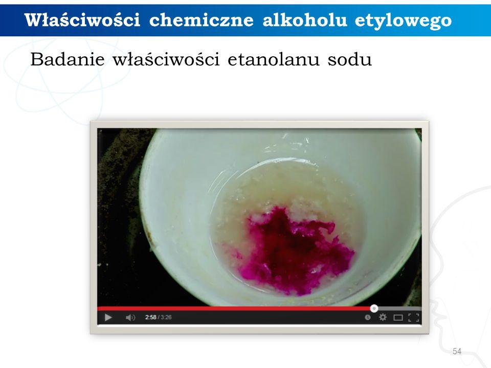 Właściwości chemiczne alkoholu etylowego