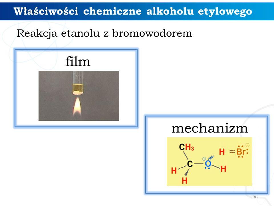 film mechanizm Właściwości chemiczne alkoholu etylowego