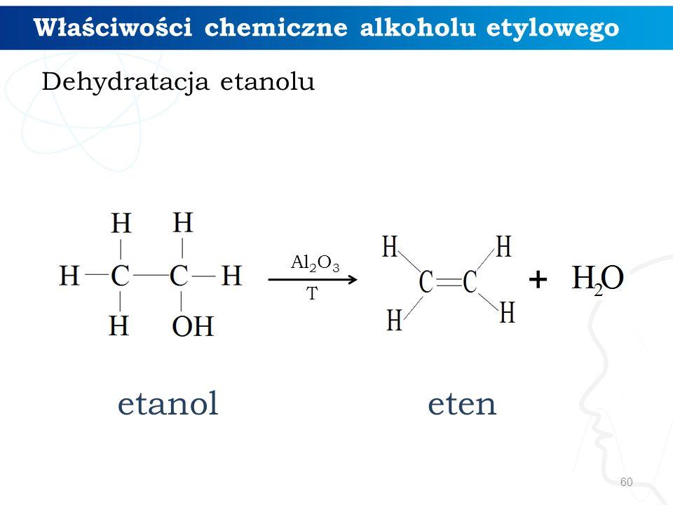 + etanol eten Właściwości chemiczne alkoholu etylowego