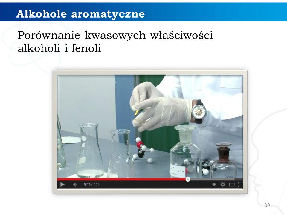 Alkohole aromatyczne Porównanie kwasowych właściwości alkoholi i fenoli