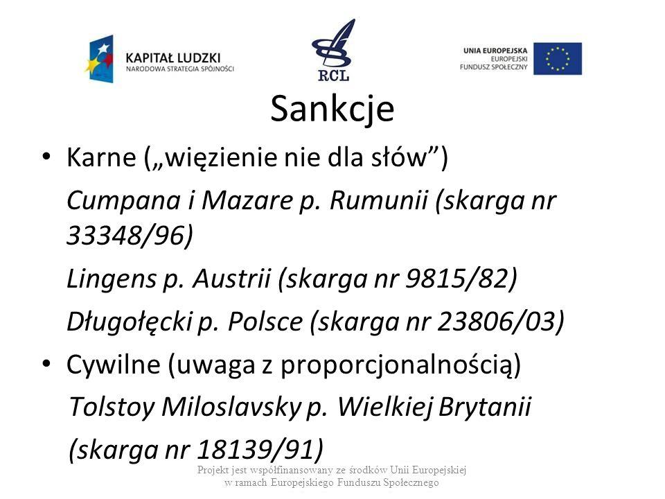 """Sankcje Karne (""""więzienie nie dla słów )"""