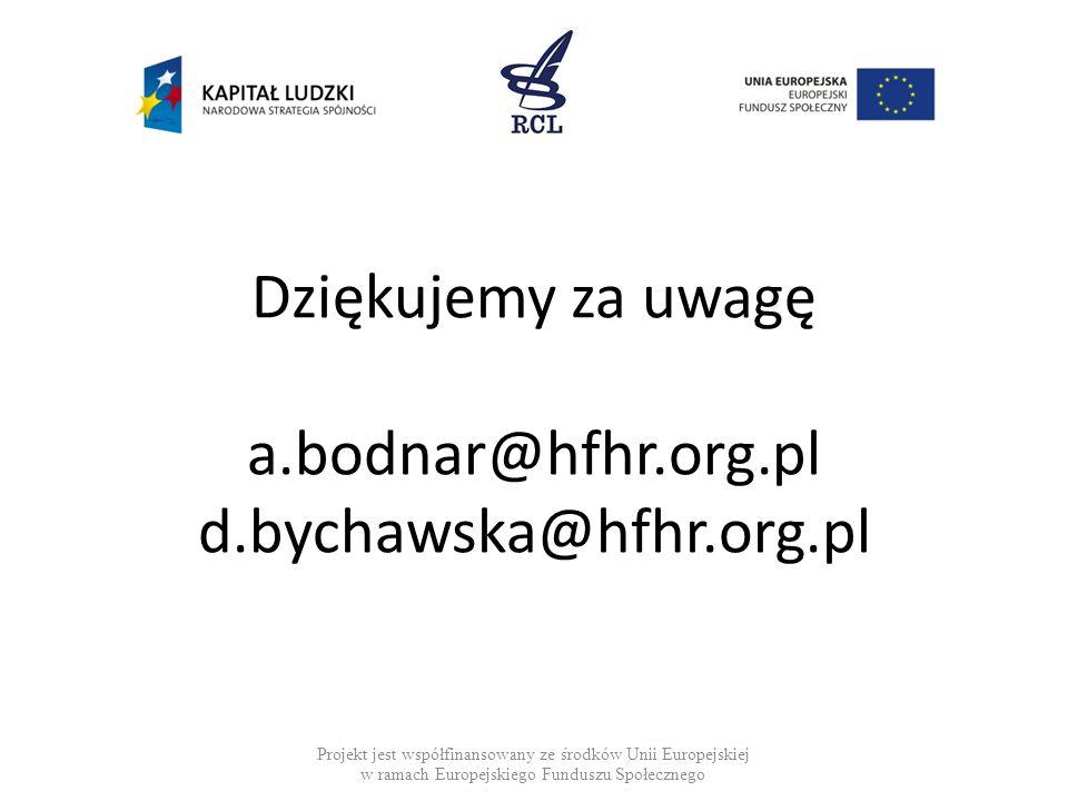 Dziękujemy za uwagę a.bodnar@hfhr.org.pl d.bychawska@hfhr.org.pl