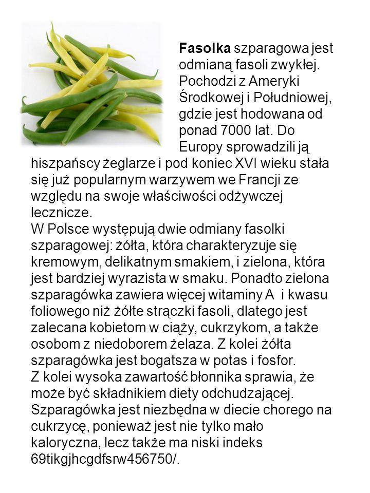 Fasolka szparagowa jest. odmianą fasoli zwykłej. Pochodzi z Ameryki