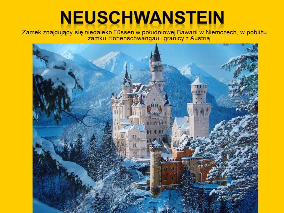 Neuschwanstein Zamek znajdujący się niedaleko Füssen w południowej Bawarii w Niemczech, w pobliżu zamku Hohenschwangau i granicy z Austrią.