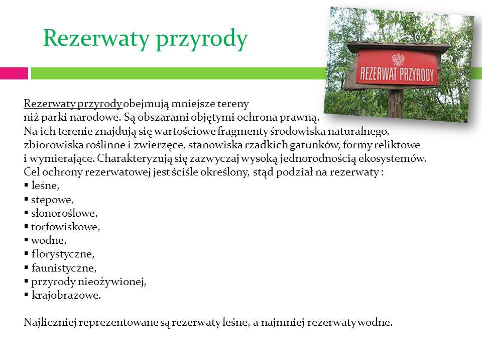 Rezerwaty przyrody Rezerwaty przyrody obejmują mniejsze tereny