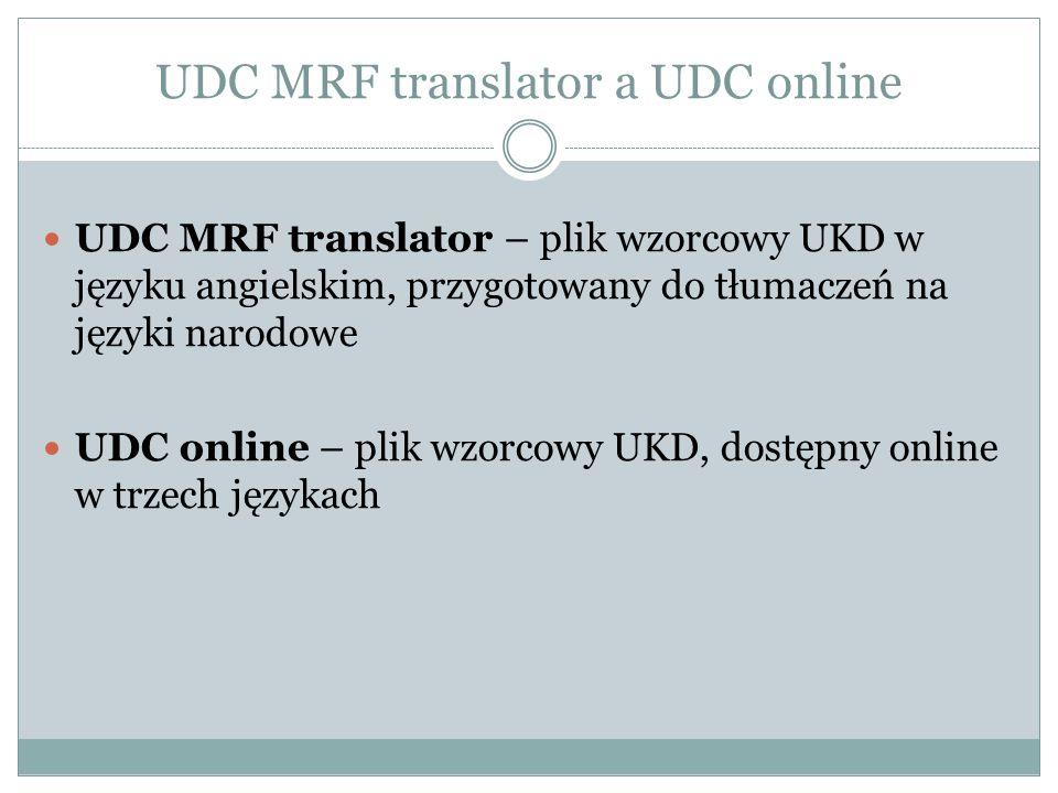 UDC MRF translator a UDC online