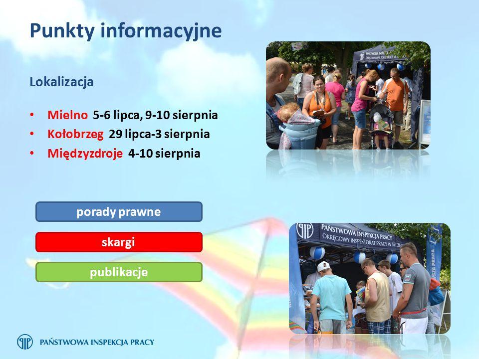 Punkty informacyjne Lokalizacja Mielno 5-6 lipca, 9-10 sierpnia