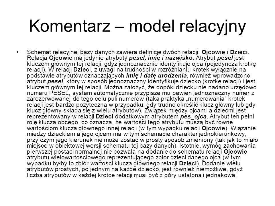 Komentarz – model relacyjny