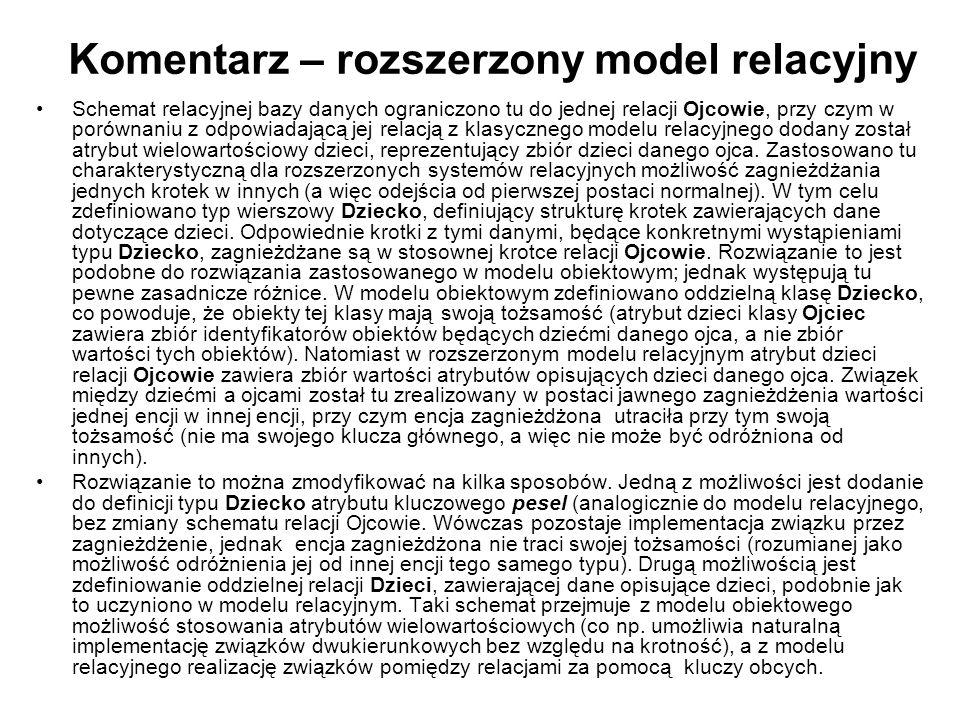Komentarz – rozszerzony model relacyjny