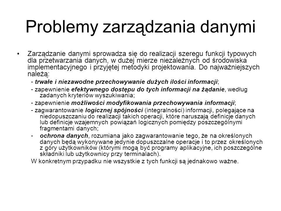 Problemy zarządzania danymi