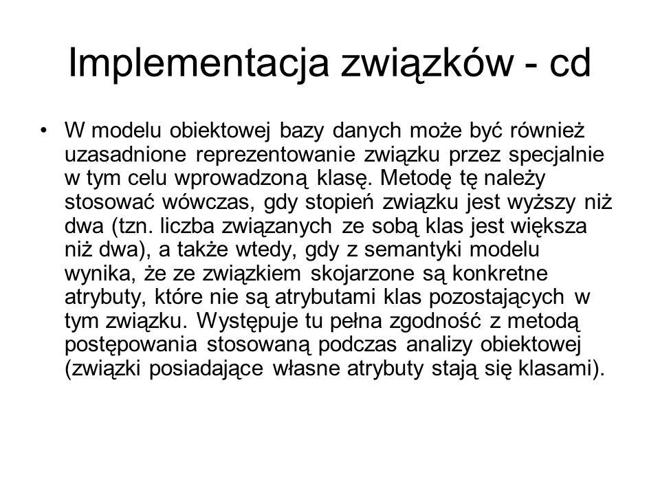 Implementacja związków - cd