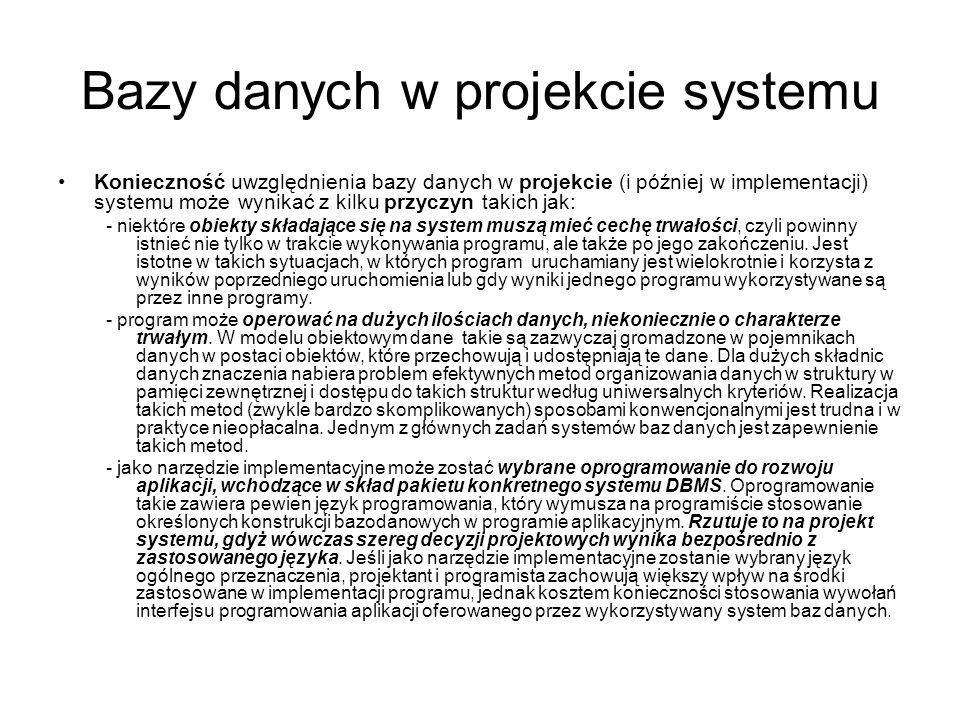 Bazy danych w projekcie systemu