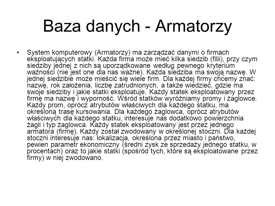 Baza danych - Armatorzy