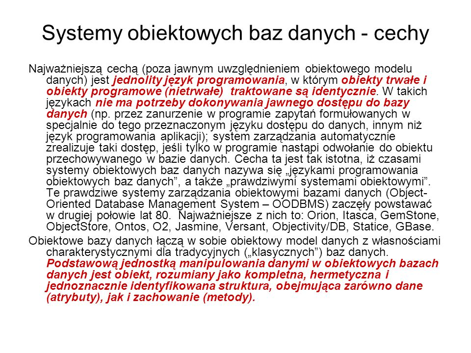 Systemy obiektowych baz danych - cechy