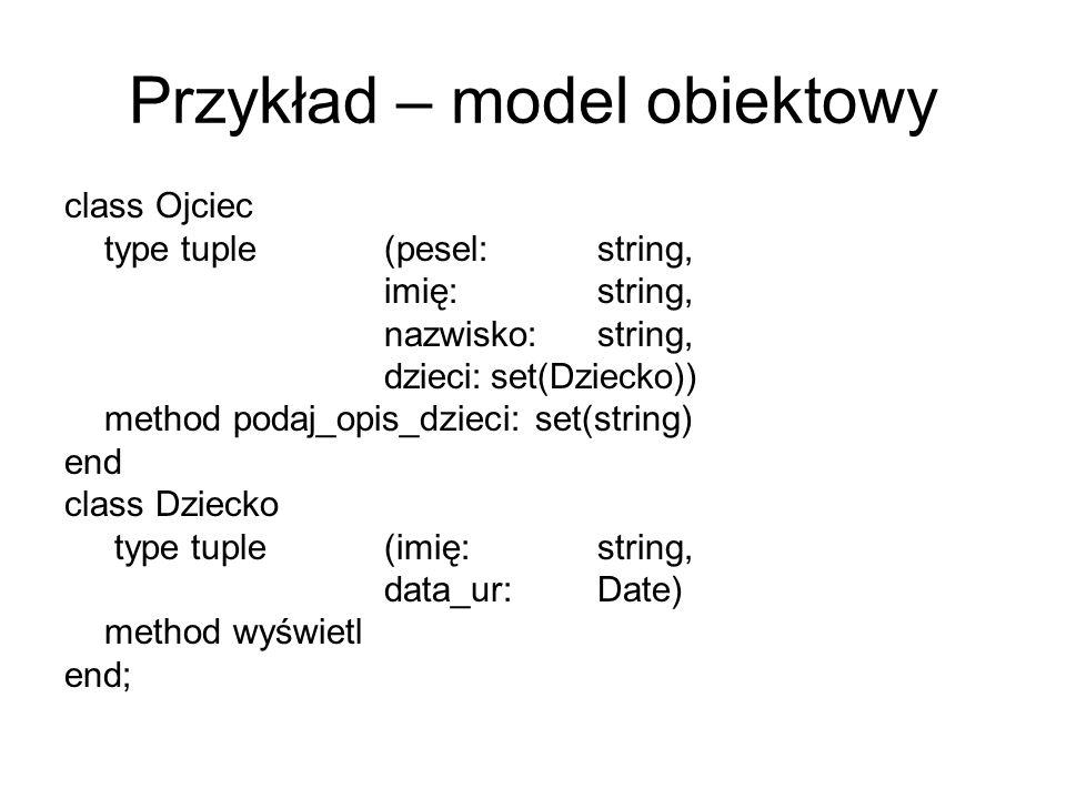 Przykład – model obiektowy
