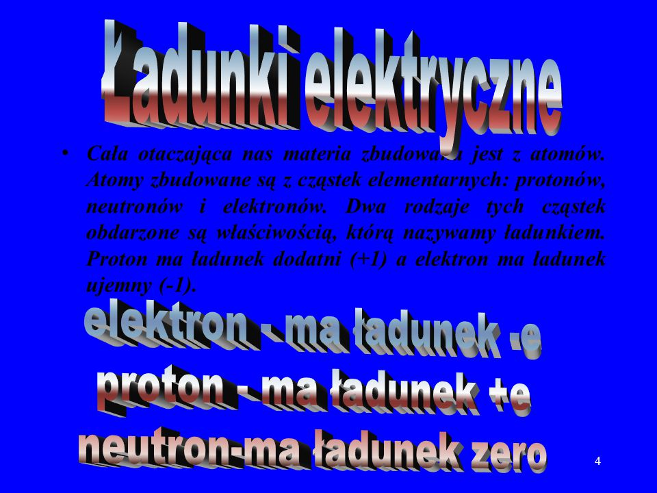 elektron - ma ładunek -e proton - ma ładunek +e