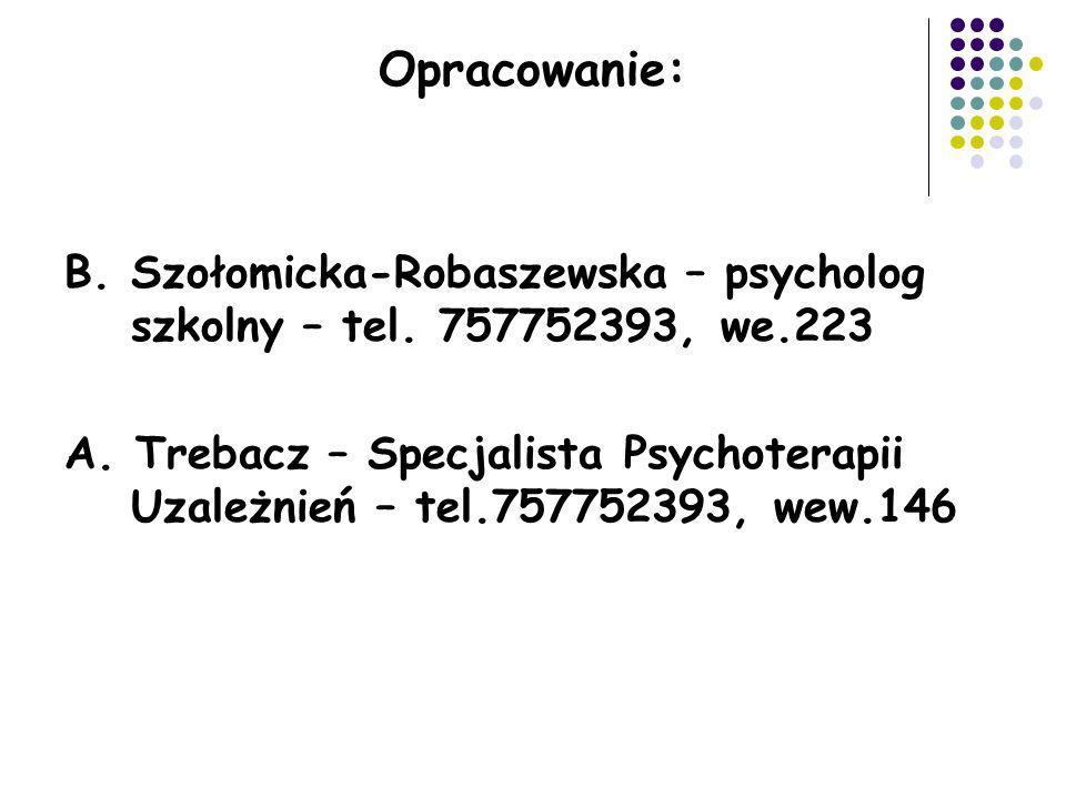 Opracowanie: B. Szołomicka-Robaszewska – psycholog szkolny – tel. 757752393, we.223.