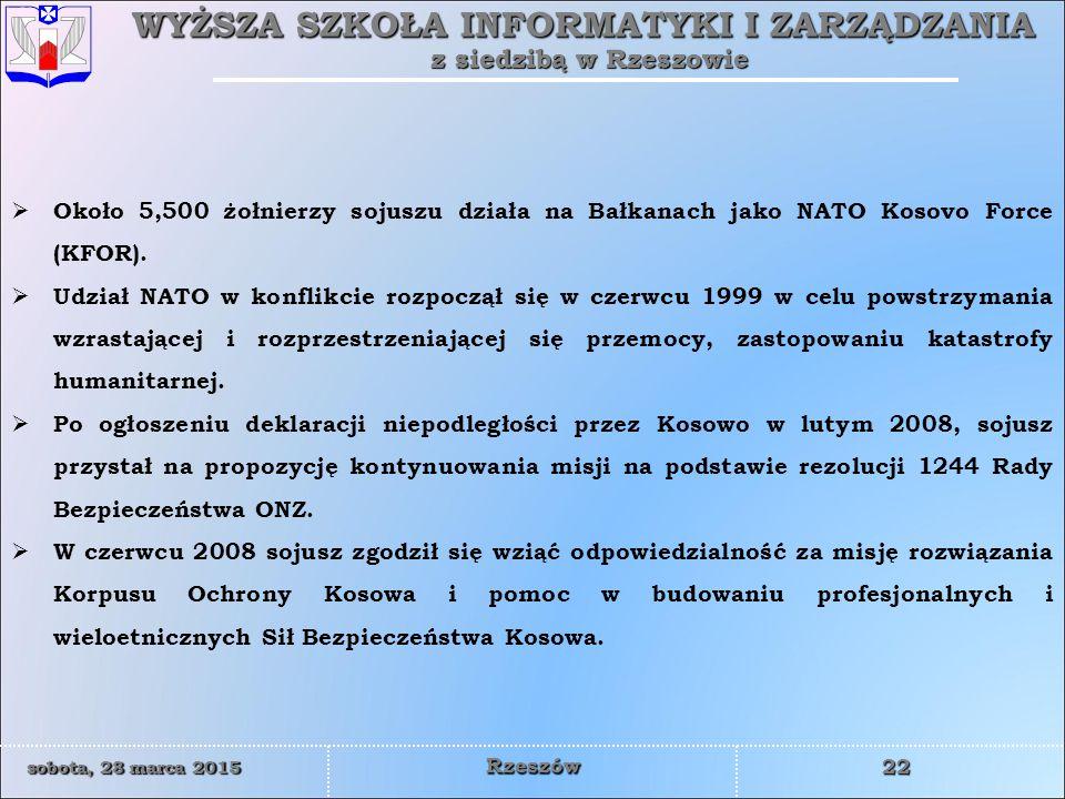 Około 5,500 żołnierzy sojuszu działa na Bałkanach jako NATO Kosovo Force (KFOR).
