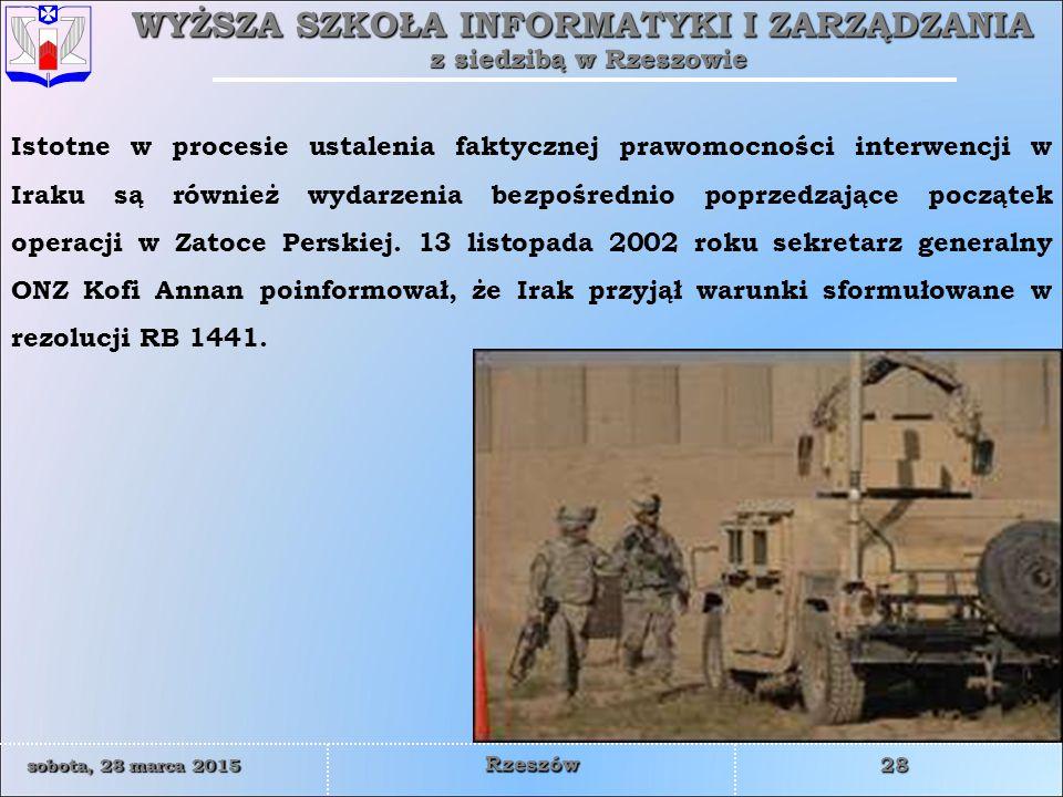 Istotne w procesie ustalenia faktycznej prawomocności interwencji w Iraku są również wydarzenia bezpośrednio poprzedzające początek operacji w Zatoce Perskiej.