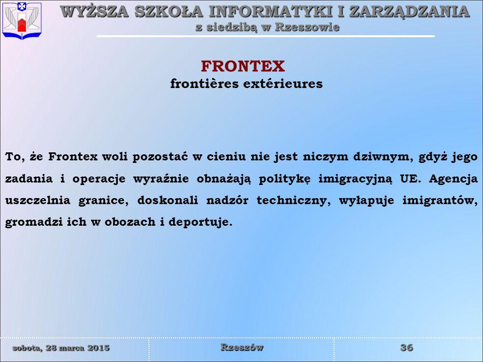 FRONTEX frontières extérieures
