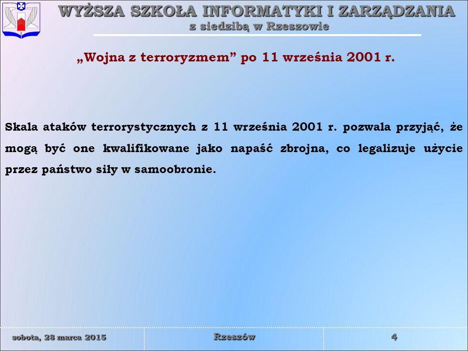 """""""Wojna z terroryzmem po 11 września 2001 r."""