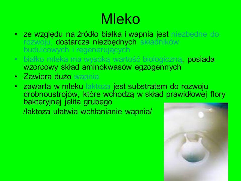 Mleko ze względu na źródło białka i wapnia jest niezbędne do rozwoju, dostarcza niezbędnych składników budulcowych i regenerujących.