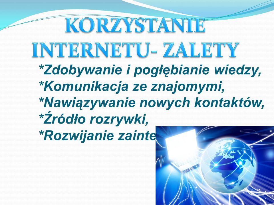 KORZYSTANIE INTERNETU- ZALETY