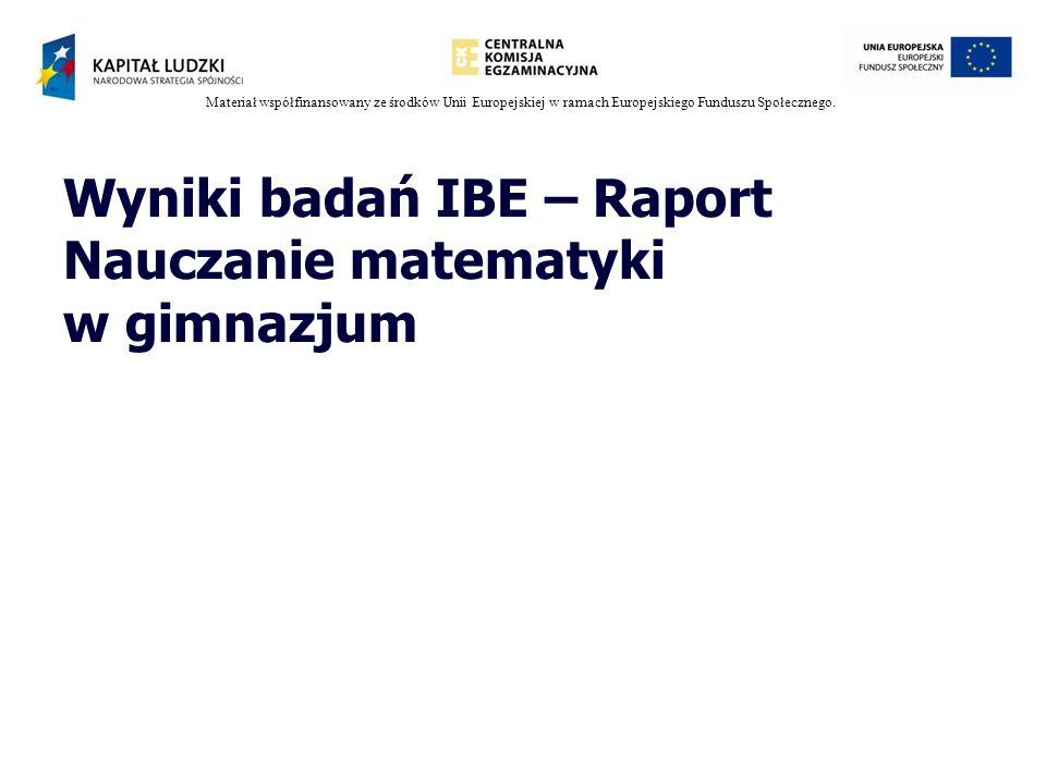 Wyniki badań IBE – Raport Nauczanie matematyki w gimnazjum