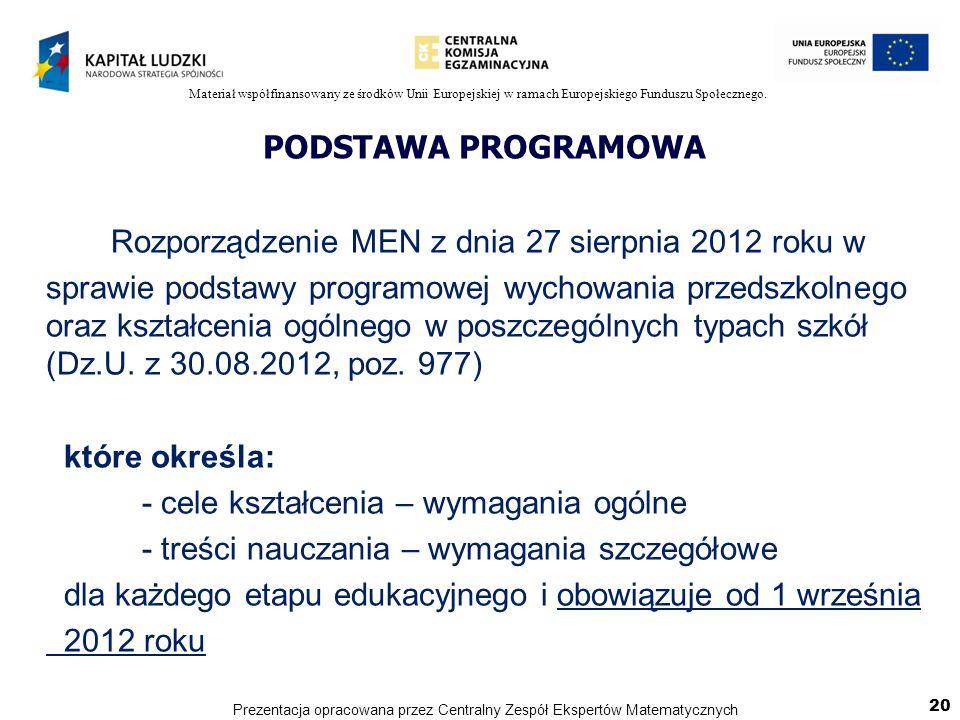 Rozporządzenie MEN z dnia 27 sierpnia 2012 roku w