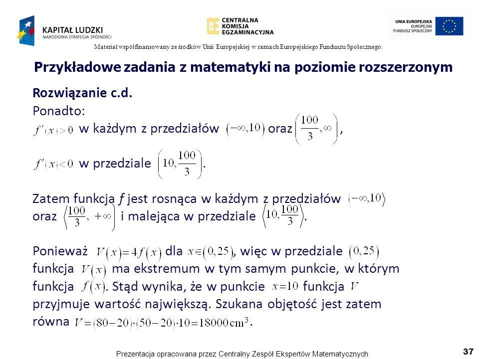 Przykładowe zadania z matematyki na poziomie rozszerzonym