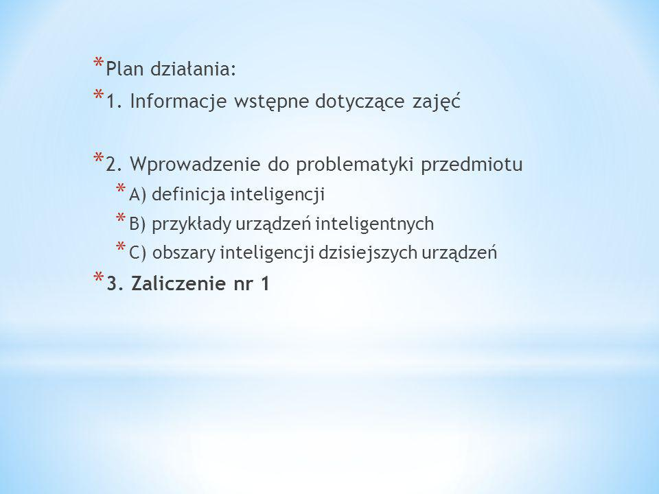 1. Informacje wstępne dotyczące zajęć