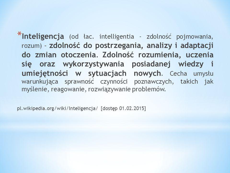 Inteligencja (od łac. intelligentia - zdolność pojmowania, rozum) – zdolność do postrzegania, analizy i adaptacji do zmian otoczenia. Zdolność rozumienia, uczenia się oraz wykorzystywania posiadanej wiedzy i umiejętności w sytuacjach nowych. Cecha umysłu warunkująca sprawność czynności poznawczych, takich jak myślenie, reagowanie, rozwiązywanie problemów.