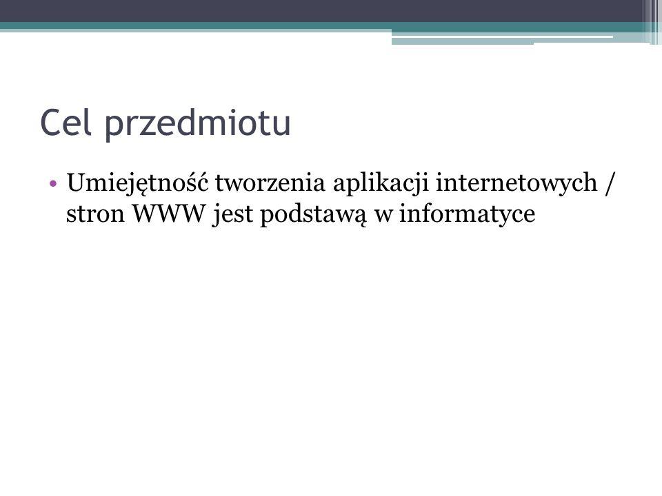 Cel przedmiotu Umiejętność tworzenia aplikacji internetowych / stron WWW jest podstawą w informatyce.