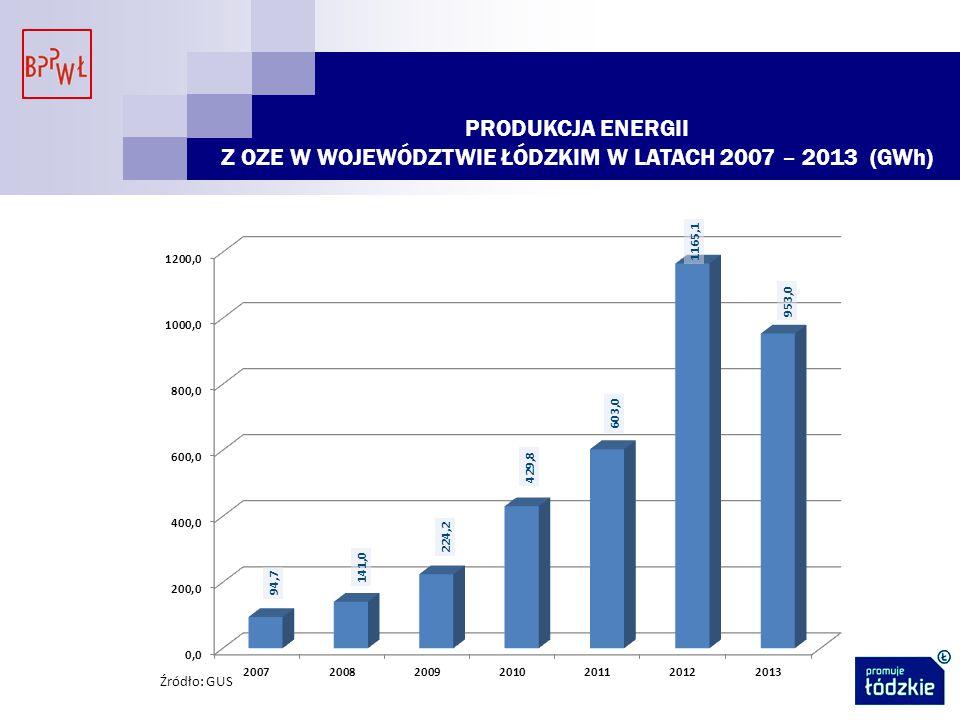 Z OZE W WOJEWÓDZTWIE ŁÓDZKIM W LATACH 2007 – 2013 (GWh)