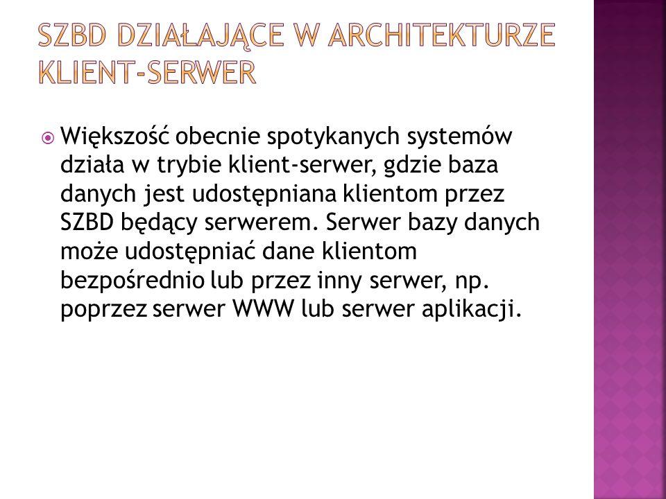 SZBD działające w architekturze klient-serwer