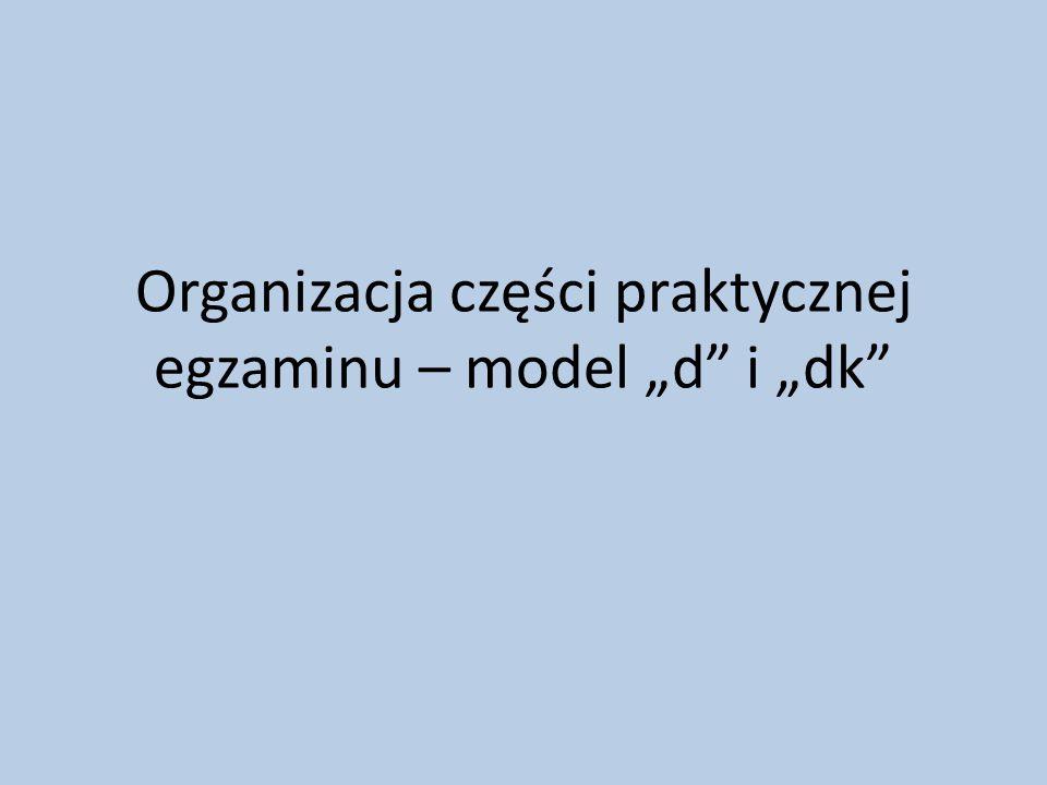 """Organizacja części praktycznej egzaminu – model """"d i """"dk"""