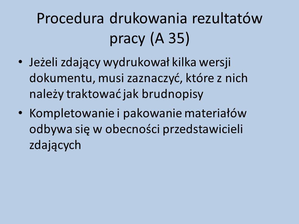 Procedura drukowania rezultatów pracy (A 35)