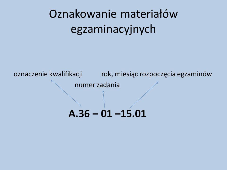 Oznakowanie materiałów egzaminacyjnych