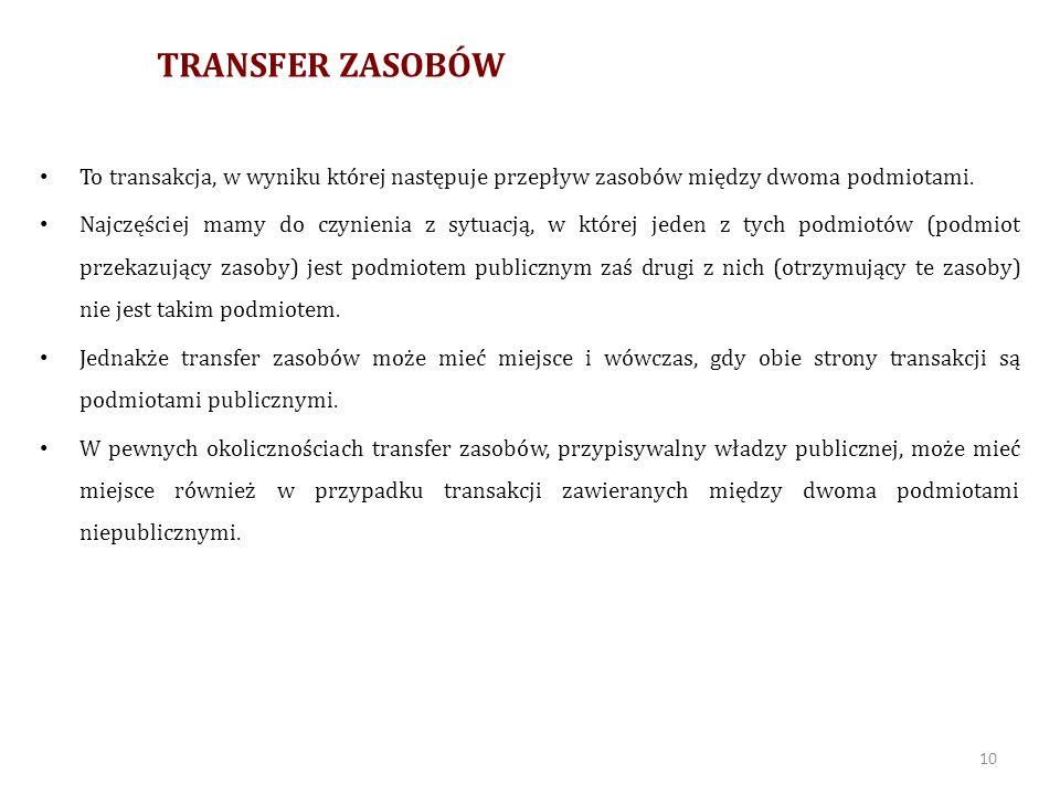 TRANSFER ZASOBÓW To transakcja, w wyniku której następuje przepływ zasobów między dwoma podmiotami.
