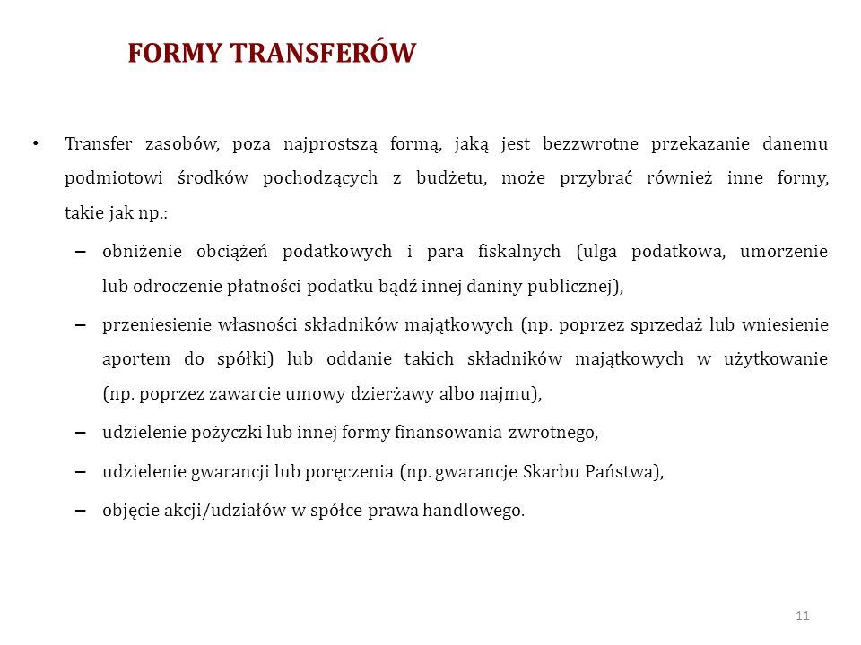 FORMY TRANSFERÓW