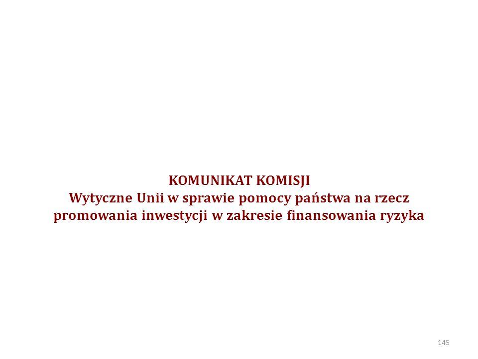 KOMUNIKAT KOMISJI Wytyczne Unii w sprawie pomocy państwa na rzecz promowania inwestycji w zakresie finansowania ryzyka