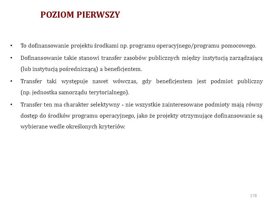 POZIOM PIERWSZY To dofinansowanie projektu środkami np. programu operacyjnego/programu pomocowego.