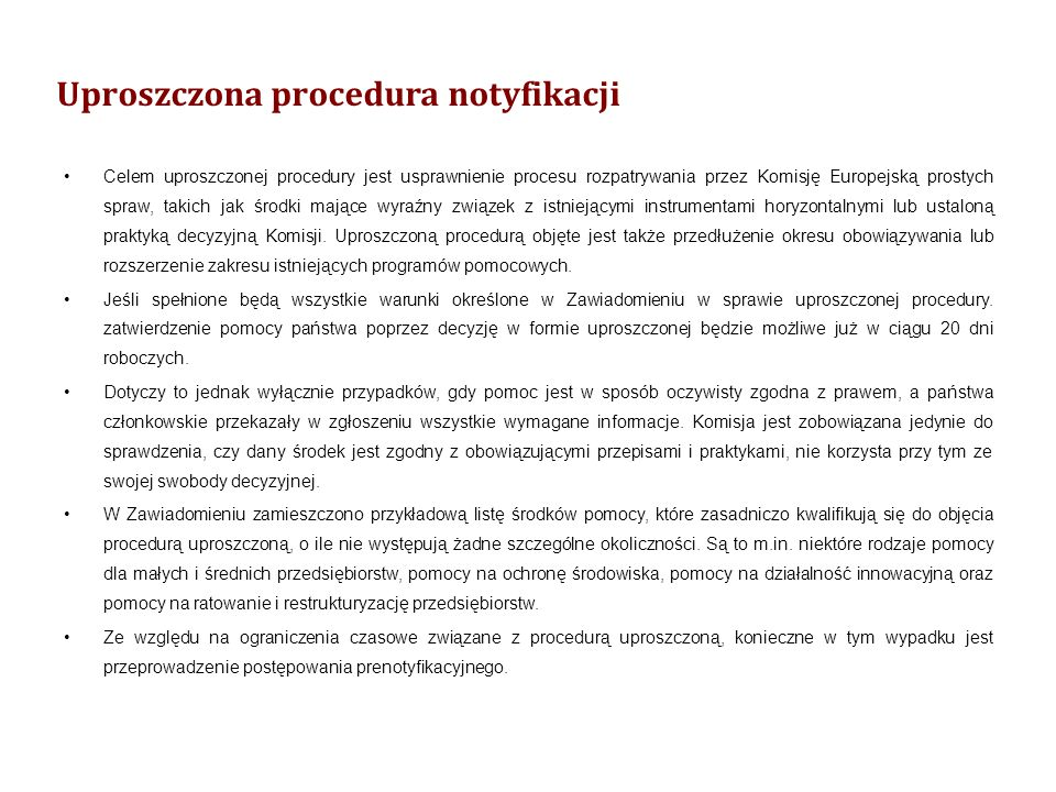 Uproszczona procedura notyfikacji